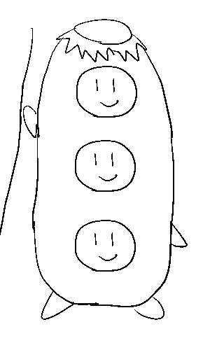 三人が合体したカッパの図