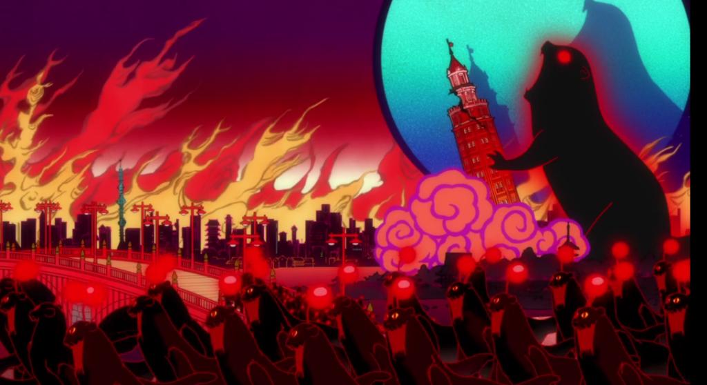 カワウソ帝国に倒されるカッパの塔?